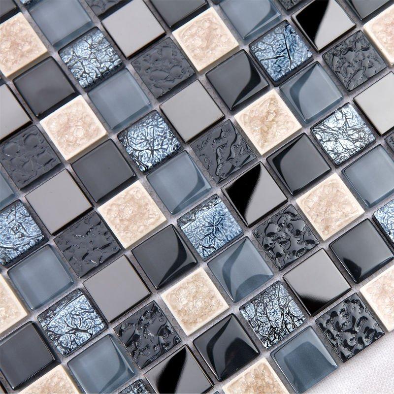 Ceramic mosaic tile mirror black 23mm square discount bathroom