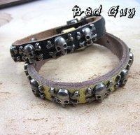 sl203 мужской кожаный браслет, 100% натуральная кожа, цвета панк череп шарм браслеты, хип-хоп, мужская мода ювелирные изделия