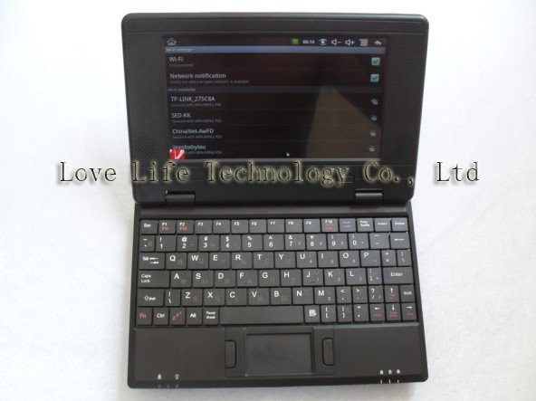 TOP Sales 7 inch Notebook PC Netbook OS andriod 2.2 3G Wifi Optional Camera Touch 256M 2GB  Languages on the keyboards Russian
