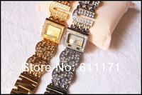 Наручные часы Gift Box+ Diamond Ladies wristwatch.TOP LUXURY Brand woman bracelet watch gold&silver tahe hours for lady