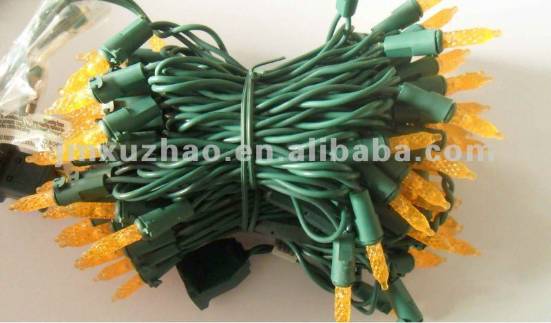 100L UL 110V 10M LED M5 Christmas String Lights Orange Color Green Wire