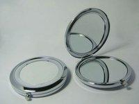 Free Shipping 24pcs compact mirror DIY Portable Metal cosmetic mirror silver