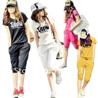 Женские толстовки и Кофты Korean yards of the new women short sleeve women's 2012 Summer sports and leisure suit ladies summer sportswear Y3083