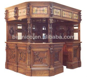 Cl sica talla de madera muebles de la barra tabla de la for Bar madera moderno