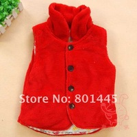 Жилет для девочек 2011 Autumn Winter Coral fleece Vest both sides to wear Girl Vest Baby Vest 1~7Y retail