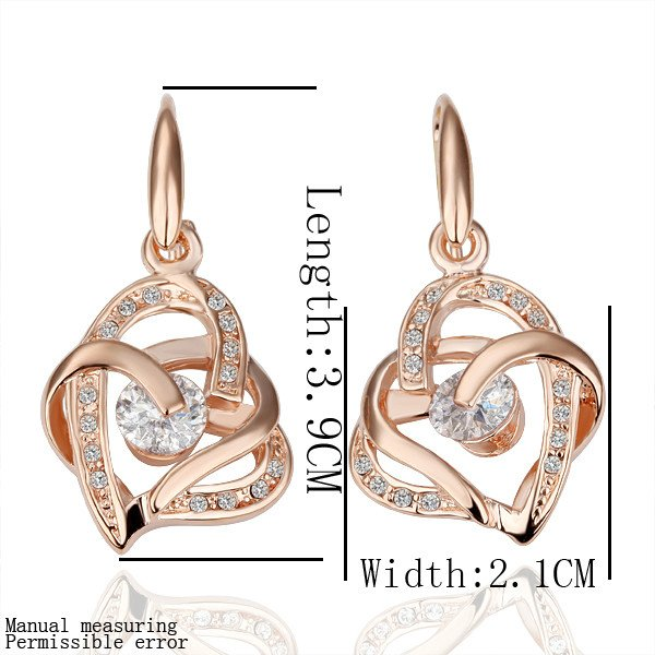18KGP E082 Rose-gold K Gold Plated Fashion Jewelry Nickel Free Plating Platinum Austrian SW Element Crystal Pendant Earrings
