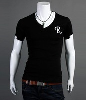 Мужская футболка 2012 New Fashion Mens Short Sleeved Cotton V Neck T Shirt, Asia:M-XXL