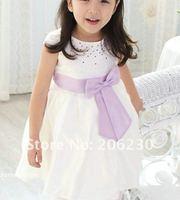 1 pcs children girl princess lace skirt dress bow white color girl's dresses