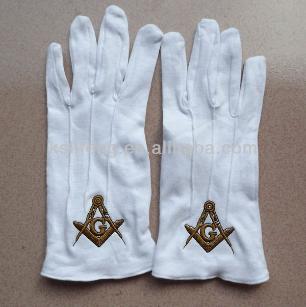 Custom Free Size Embroidery Logo Masonic White Cotton Gloves