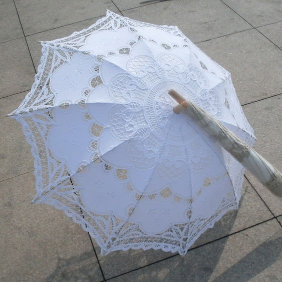 Freed shiping ivory cotton SUN BATTEN victorian LACE PARASOL30 39 H108