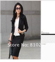 Free Shipping Wholesale/Retail 2012 Summer New Fashion Womens' Ladies' White Black Beige Blazers OL Cotton Coats Jackets 4443