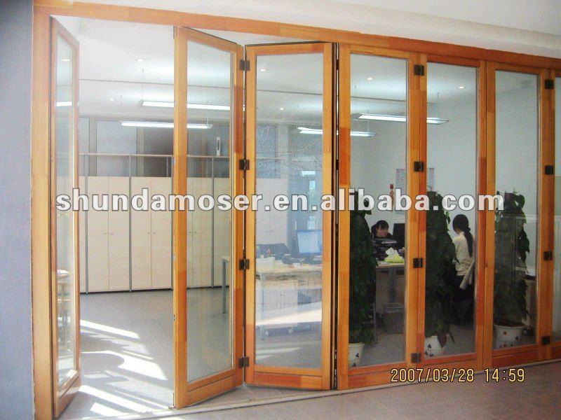 Moser cristal de madera plegable puerta corredera puertas - Puertas correderas de cristal y madera ...