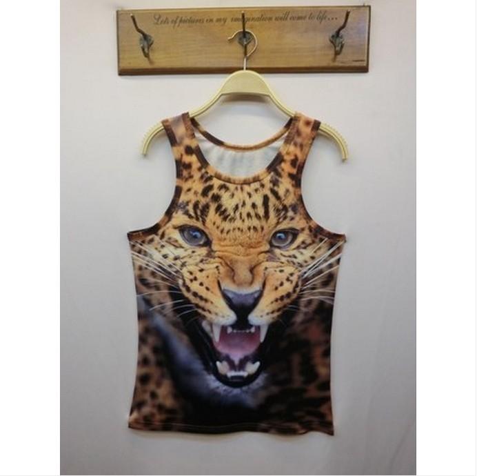 Новые мужчины 3d животных тигра cat король фараона печати рукавов жилет топ уникальные хлопок t рубашка мужская o шеи моды