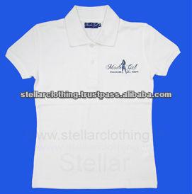 100% cotton women\'s Polo T-shirt - white - Made Gal