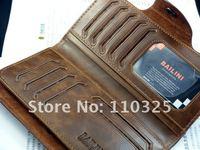 Кошелек 2012 fashion Men genuine cow Leather long Wallet Pockets rfid Card Clutch Cente Bifold Purse, W-B8