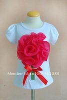 Блузка для девочек high quality The latestr pink Girls T-Shirts girl top Children fashion design flowers Short Sleeve T-Shirt . 5PCS/lot