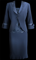 Custom made Jacket Exquisite Round Neck Sleeves Sheath Tea Length Beads Satin Mother Of The Bride Dresses