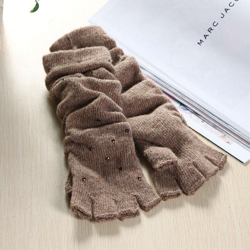 Ladies rhinestone knit weights half finger long gloves