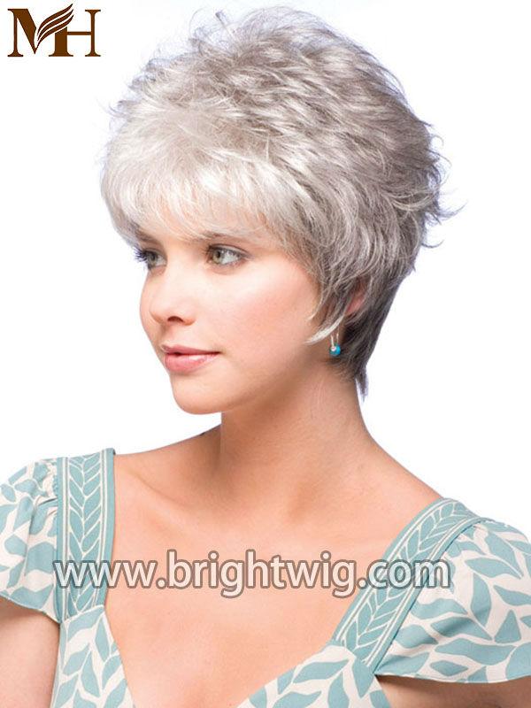 natural grey synthetic mixed grey wig