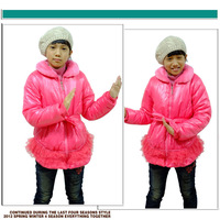 Пуховик для девочек Hot Winter Kids Clothing Girls Fashion Jackets with Warm Fur Collar & Belt, K0256