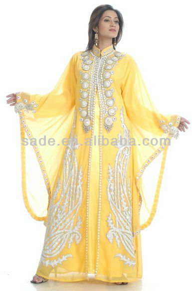 Fancy Dubai Kaftan Ladies Maxi Dress Abaya Wedding Gown