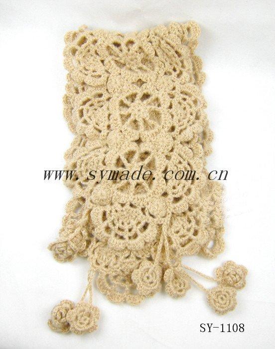 2015 el más nuevo diseño de invierno de punto flores crochet bufanda patrón