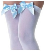 $$$$ Sexy stocking in Nylon ST 11 with satin bowknot $$$$$white nylon with  mei pink ribbon