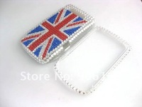 For Blackberry Case Flag Bling Rhinestone Plastic Hard Full Case For Blackberry Torch 9800 Case