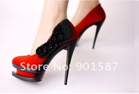 Туфли на высоком каблуке The Fashion High Heels Pumps Women's Appliques Suede Double Platform Shoes New Red Beige Black colors euo 35-39 size