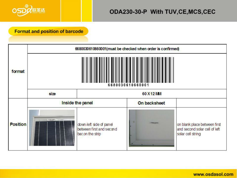 ODA230-30-P 30V price per watt solar panels
