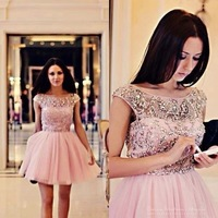 Платье для выпускниц Modest Crystal Cap Sleeve Pink Tulle Semi Formal Cocktail Homecoming Dress New Fashion Girl 8th Grade Graduation Dresses