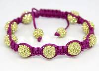 Free Shipping++2011 Fashion Hot Sale Mixed Color Charm Bracelets with 10mm Crystal Ball