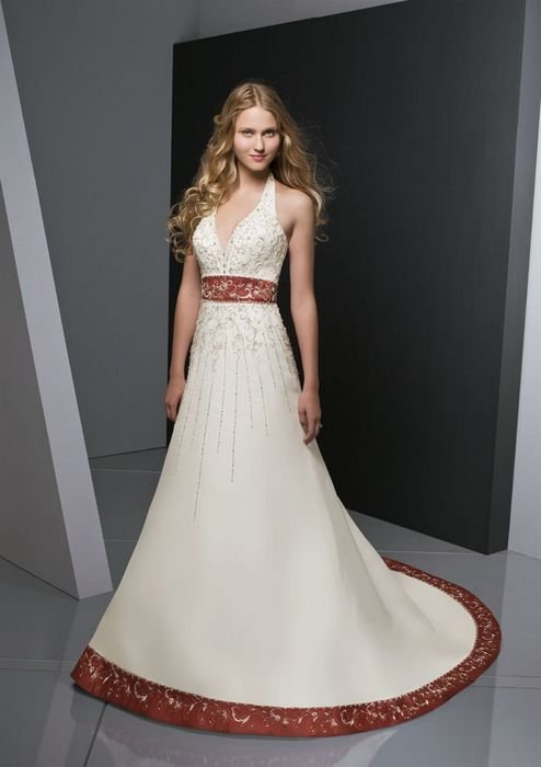 ConditionChinawind red vintage halter strap wedding dresses MLW066