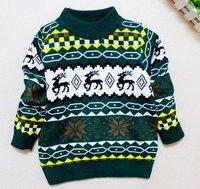 wholesale 3pcs/lot deer design boy pullover outwear kitting sweater