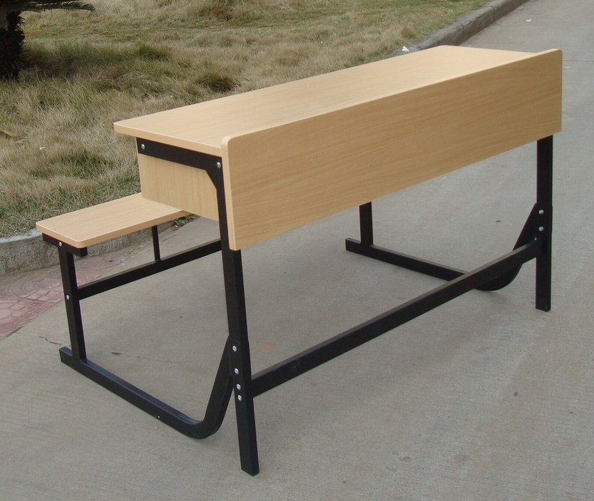 double solid wood steel tube school desk and chair