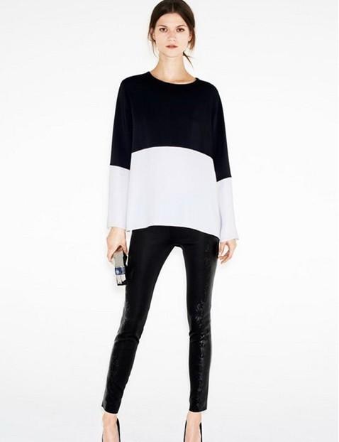 St198 New Fashion Womens Elegant Classic Black And White Blouses
