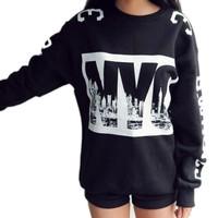 Женские толстовки и Кофты Letter Print Thicken Warm Loose Blouse Lady Crewneck Long Sleeve Sweatshirt Tops & Drop Shipping