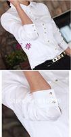 Кореи тонкая талия Белый хлопок Блузка женская рубашка с длинными рукавами женские длинный рукав