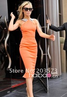 BRIDGET' TANGERINE ORANGE TAILORED PENCIL DRESS Victoria Style Stretch Cross-back Fitted Dress white ED097a