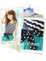 2013 Fashion Summer Ladies Chiffon Stripes Dress Sleeveless Scoop Neck Splicing Vest Mini Dress With Belt 2 ColorsFree Shipping
