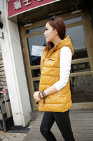Женский жилет 3XL Autumn winter plus size Women vest PU with a hood vest leather jacket waistcoat slim down cotton vest women