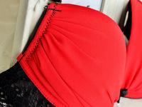 Wholesale 3set/lot 3/4 Cups women sexy red black deep V underwear set sexy women bra and panty set