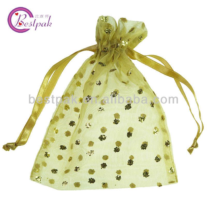 mini orange sheer organza gift drawstring bags