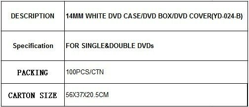 14MM WHITE DVD CASE/DVD BOX/DVD COVER(YD-024-B)