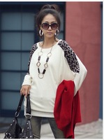 Женская футболка autumn and winter NEW HOT Fashion trendy Cozy women ladies Noble clothes Tops Tees T shirt Long-sleeved Leopard splicing T-shirt
