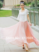 Free Shipping 6 Colors New arrivals fashion vintage bohemian chiffon pleated skirt elegance woman long skirts hot sell