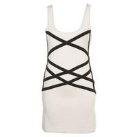 White Cross/striped Cotton Tank Dress free shipping for epacket and cpam