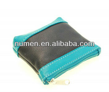 Black turquoise ladies coin purse with small zipper