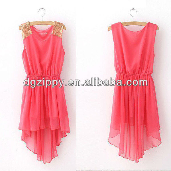 latest design plain red chiffon dress ladies western dress designs