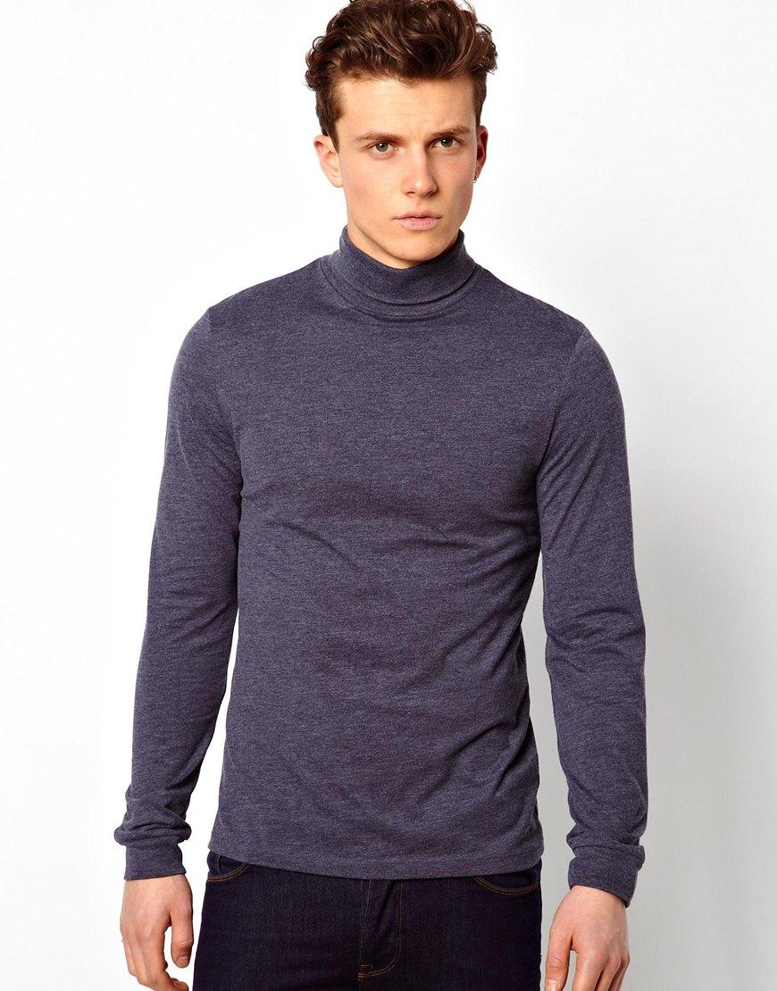 High Neckline Shirts Mens Cotton High Neck T-shirts